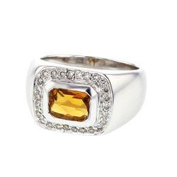 18KT White Gold 1.53ct Citrine and Diamond Ring