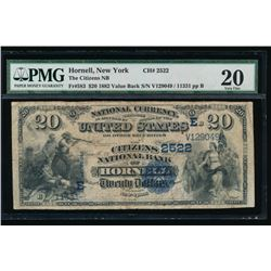 1882 $20 Hornell National Bank Note PMG 20