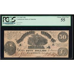 1861 $50 Confederate States of American Note PCGS 55