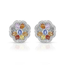 14KT White Gold 7.69ctw Multi Color Sapphire and Diamond Earrings