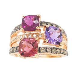 Levian 14KT Rose Gold Colored Stones and Diamond Ring