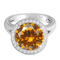 14KT White Gold 3.87ct Citrine and Diamond Ring