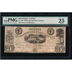 1839 $5 Mississippi Railroad Company Obsolete Note PMG 25