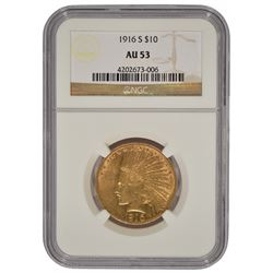 1916-S $10 Indian Head Eagle Gold Coin NGC AU53