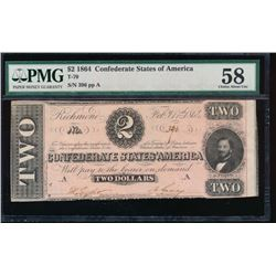 1864 $2 Confederate States of America Note PMG 58