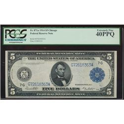 1914 $5 Chicago Federal Reserve Note PCGS 40PPQ
