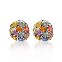 14KT White Gold 9.10ctw Multi Color Sapphire and Diamond Earrings