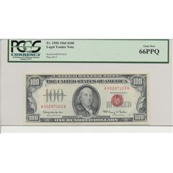 1966 $100 Legal Tender Note PCGS 66PPQ