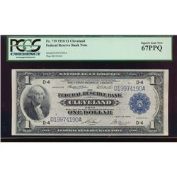 1918 $1 Cleveland Federal Reserve Bank Note PCGS 67PPQ