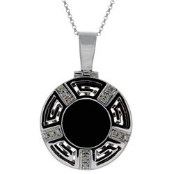 14KT White Gold 2.12ct Onyx and Diamond Pendant with Chain