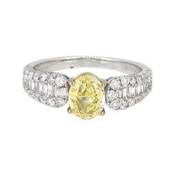 18KT White Gold 1.01ct Fancy Yellow Diamond Ring