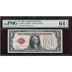 1928 $1 Legal Tender Note PMG 64EPQ