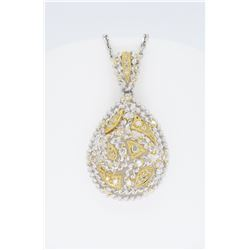 18KT Two Tone Gold 0.80ctw Diamond Pendant with Chain