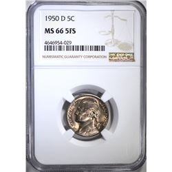 1950-D JEFFERSON NICKEL NGC MS66 5FS