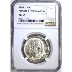 1946-D B.T. WASHINGTON HALF DOLLAR, NGC MS-65