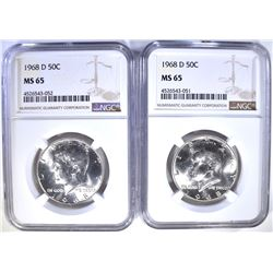 2-1968-D KENNEDY HALF DOLLARS, NGC MS-65