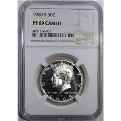 1968-S KENNEDY HALF DOLLAR, NGC PF-69 CAMEO