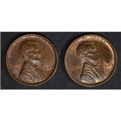 2-CH BU RB 1909 VDB LINCOLN CENTS