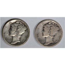 1921 & 1921-D MERCURY DIMES, GOOD KEY DATES