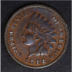 1886 TYPE-1 INDIAN CENT, VF