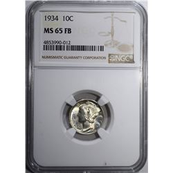1934 MERCURY DIME, NGC MS-65 FB