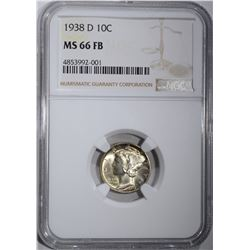 1938-D MERCURY DIME, NGC MS-66 FB