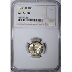 1938-D MERCURY DIME, NGC MS-66 FB