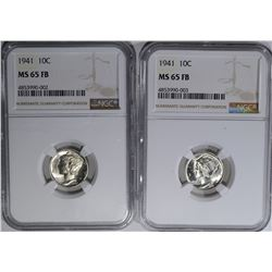 2-1941 MERCURY DIMES, NGC MS-65 FB