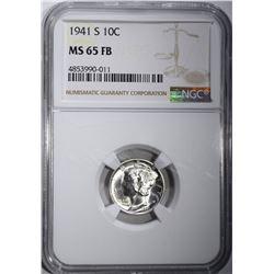 1941-S MERCURY DIME, NGC MS-65 FB