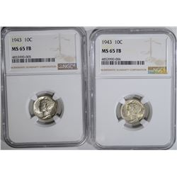2-1943 MERCURY DIMES, NGC MS-65 FB