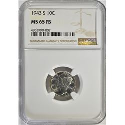 1943-S MERCURY DIME, NGC MS-65 FB