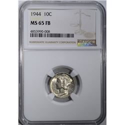 1944 MERCURY DIME, NGC MS-65 FB