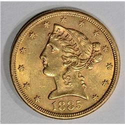 1885-S $5.00 GOLD LIBERTY, CH BU