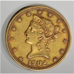 1902 $10.00 GOLD LIBERTY, XF/AU