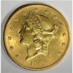 1904 $20.00 GOLD LIBERTY, GEM BU