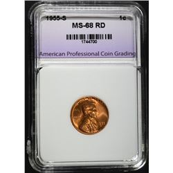 1955-S LINCOLN CENT APCG SUPERB