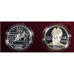 1995- Olympic Two-Coin Proof Set - Track & Cyclist