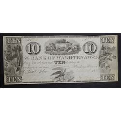 1835 $10 BANK OF WASHTENAW, MI  GEM CU