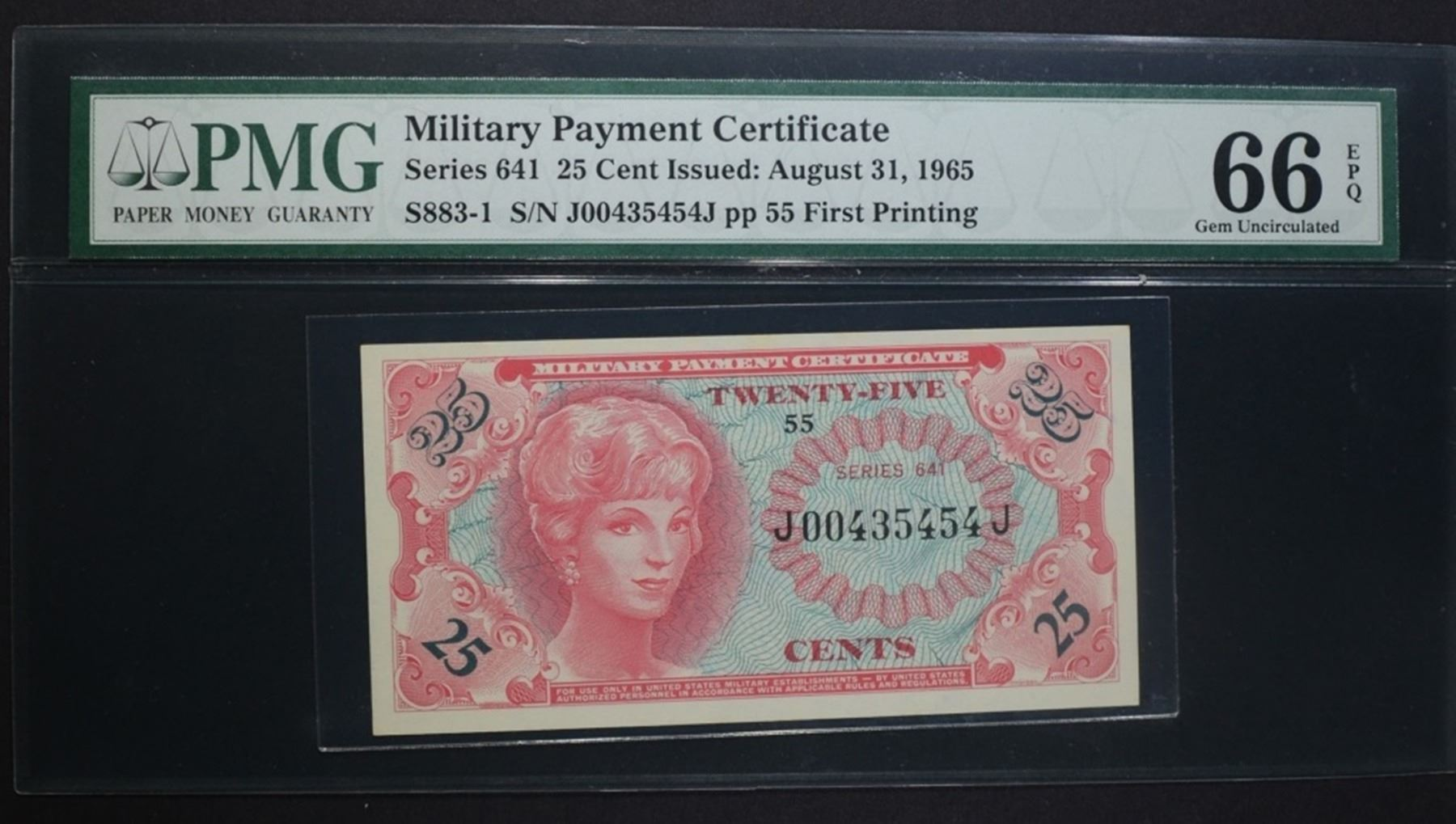 Series 641 25 Cent Military Payment Certificate Silver City Auctions