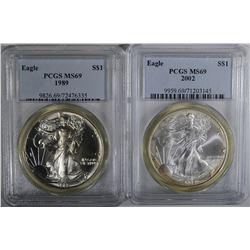 1989 & 2002 AMERICAN SILVER EAGLE DOLLARS