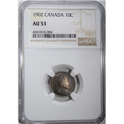 1902 SILVER 10 CENTS CANADA NGC AU 53