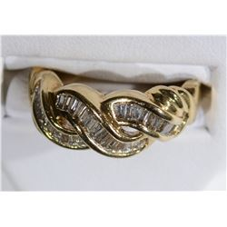 10kt GOLD UNDULATING BAGUETTE DIAMOND RING