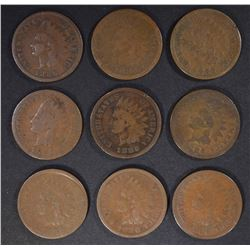 9-1886 TYPE-1 INDIAN CENTS, AVE CIRC