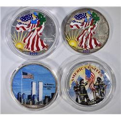 4-COLORIZED AMERICAN SILVER EAGLES