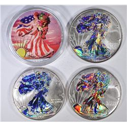 3-HOLOGRAM & 1 COLOR AMERICAN SILVER EAGLES