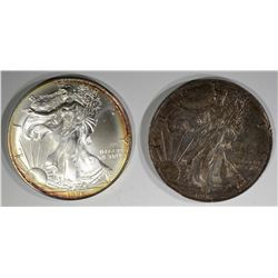 2-1996 AMERICAN SILVER EAGLES BETTER DATE