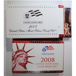 2007 & 08 U.S. SILVER PROOF SETS IN BOXES/COA