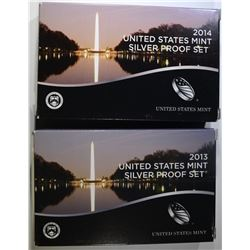 2013 & 14 U.S. SILVER PROOF SETS IN BOXES/COA