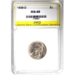 1939-D JEFFERSON NICKEL, LVCS SUPERB GEM BU