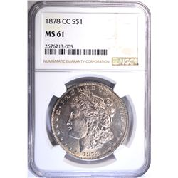 1878-CC MORGAN DOLLAR, NGC MS-61